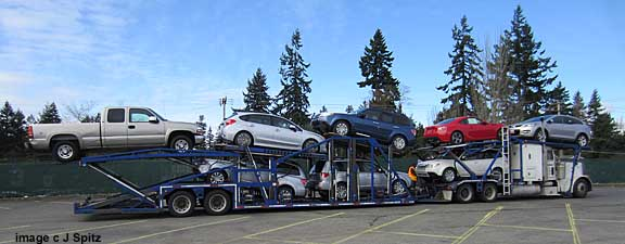subaru brz arrives on a car transporter, seattle march 2012