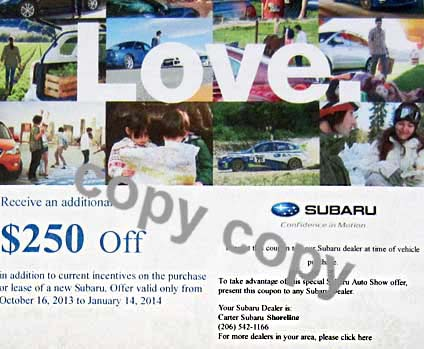 coupon emailed if you sign up at the Subaru display's kiosk at the 2013 Seattle car show, 10/16-20. click for more photos