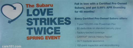 May 2014- Subaru Certified Love Springs Twice sales event