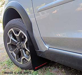 subaru crosstrek with aftermarket rally armor mud flaps. click for
