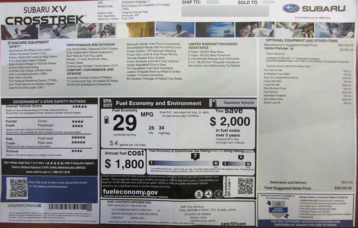 2015 Monroney Window Stickers - Subaru BRZ, XV Crosstrek ...