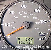 2001 Forester odometer with 300,735 miles, July 27, 2008