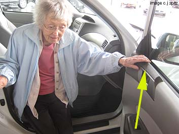 2013, 2102, 2011, 2010, 2009 Subaru Forester door has a place to grab as you get in- ideal for older folks