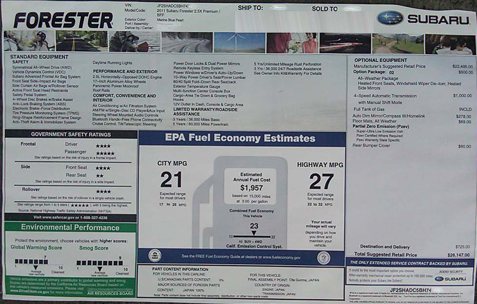 2011 Forester monroeny window sticker with Safety ratings