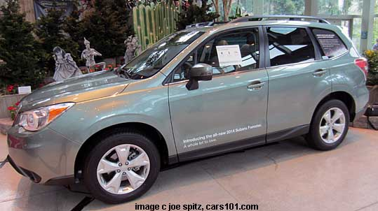 click for 2014 Forester specifications and details. Jasmine green 2.5 Touring shown. Jasmine Green