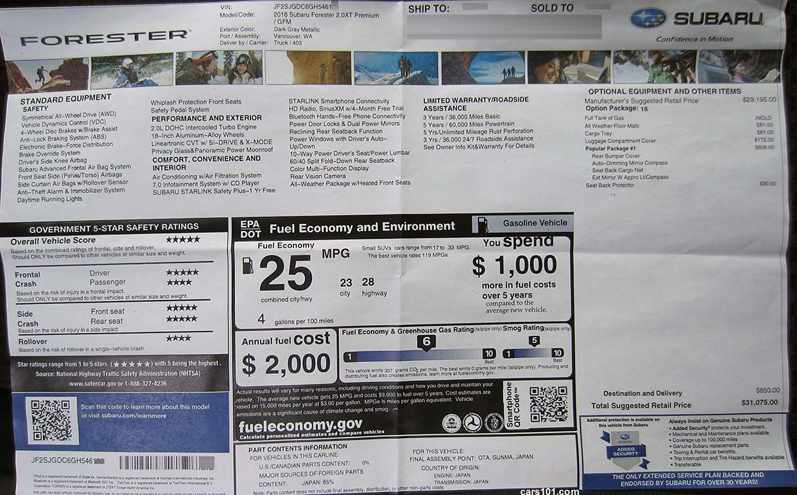 2016 Monroney Window Stickers Subaru Brz Xv Crosstrek