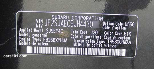 Paint Code Sticker On  Subaru Outback