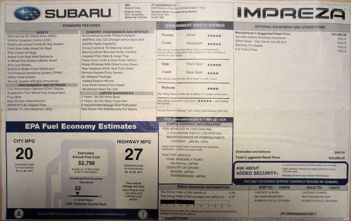 2008 subaru impreza outback sport window monroney sticker manual transmission
