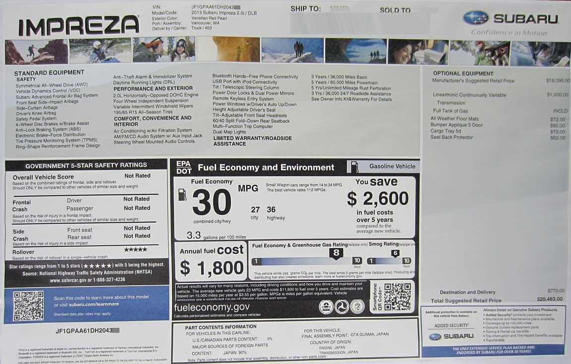 2013 monroney window stickers subaru brz xv crosstrek for 13 1 window sticker