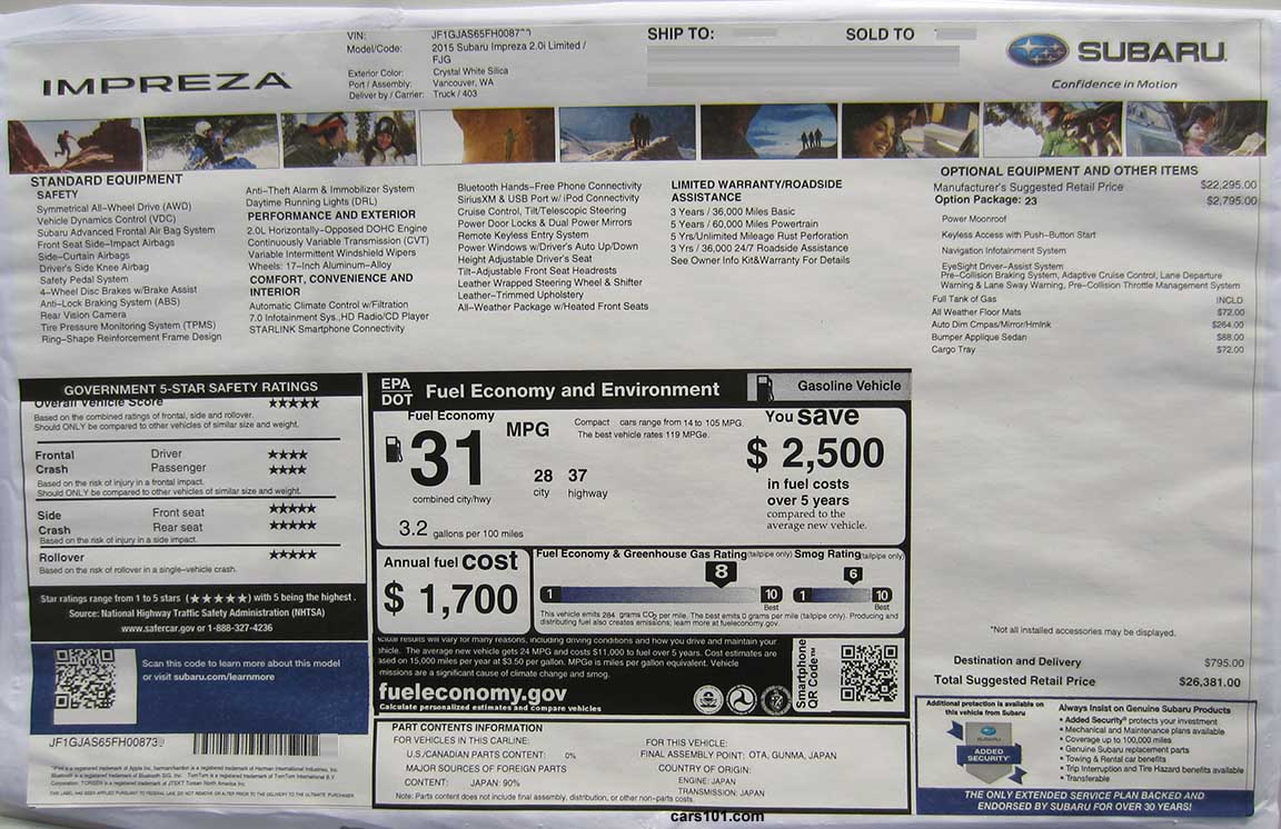 Subaru models subaru brz subaru impreza 4 doors subaru impreza 5 doors - 2015 Subaru Impreza 4 Door Sedan Limited Code Fjg With Option Package 23