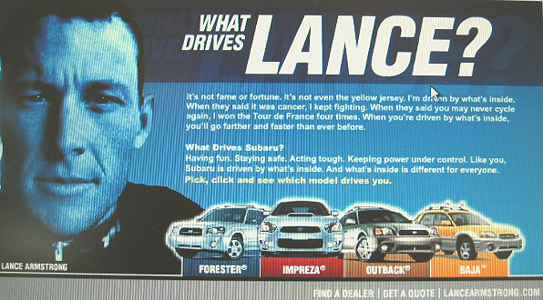 Lance Armstrong Subaru advertising from 2003