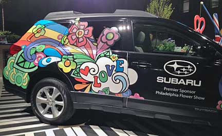 click the subaru love flower power 2013 Outback for the 2013 philadelphia flower show