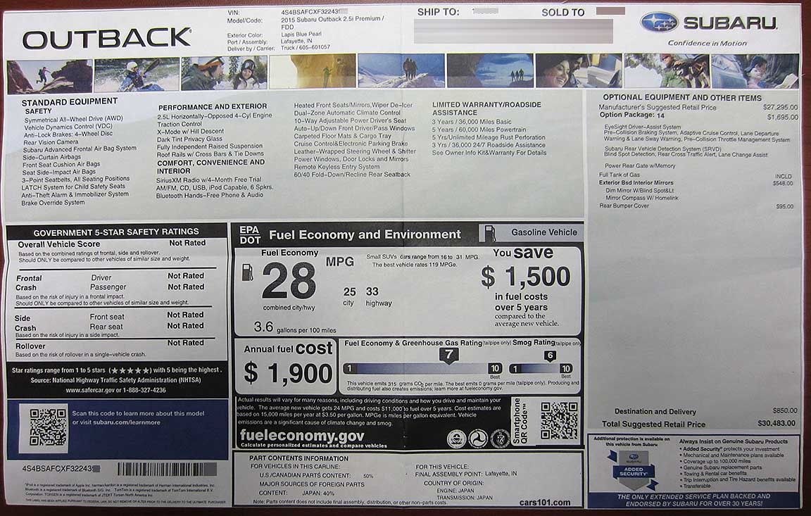 2015 Subaru Outback Premium (code FDD) with Package #14 Eyesight, and
