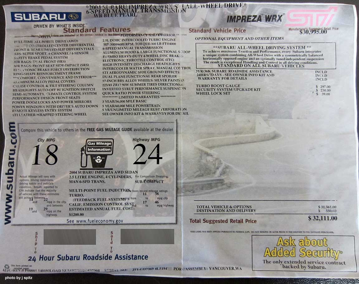 Subaru Window Stickers Monroney Labels Various Years Models
