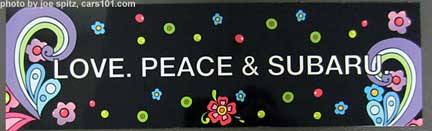"Subaru magnetic ""Peace, Love & Subaru"" bumper sticker from the 2014 Seattle Flower and Garden Show"