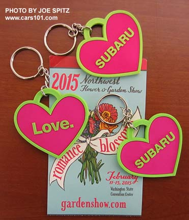 Subaru is a sponsor of the 2015 NW Flower and Garden Show. This year they had Subaru/Love heart shaped keychains