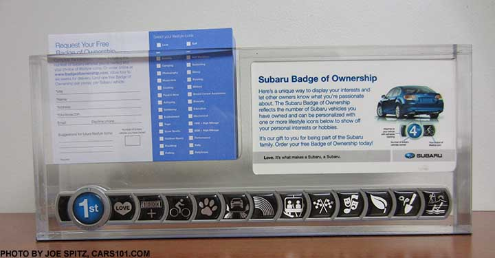 2017 Subaru Badge Of Ownership Dealer Counter Display