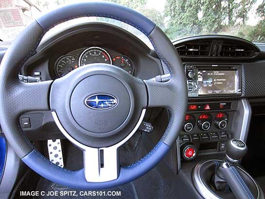 How To Unlock Steering Wheel >> BRZ series.blue steering wheel, blue and black leather, blue stitching