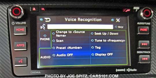 "2016 BRZ- 6.2"" audio system's voice recognition screen"