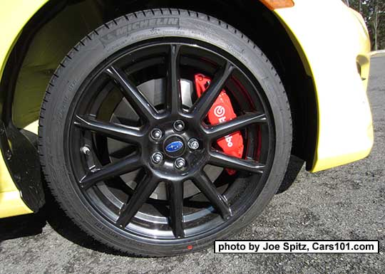 Close Up Of The 2017 Subaru Brz Limited Series Yellow 17 Black Alloy Wheel