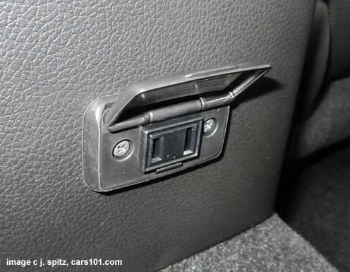 optional Subaru XV Crosstrek 100w 110v power outlet is very accessible