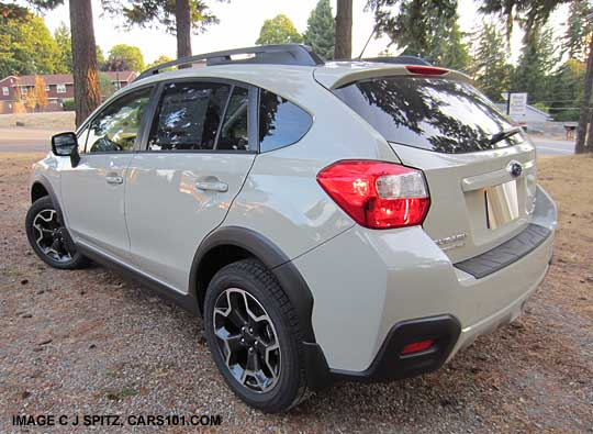 Rear View Of A 2017 Subaru Xv Crosstrek Desert Kaki Color