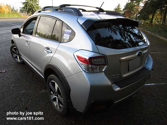 rear side view 2016 subaru crosstrek hybrid touring ice silver shown with optional aero cross. Black Bedroom Furniture Sets. Home Design Ideas