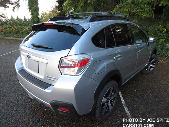 Rear Side View 2016 Subaru Crosstrek Hybrid Touring Ice Silver Shown With Optional Aero