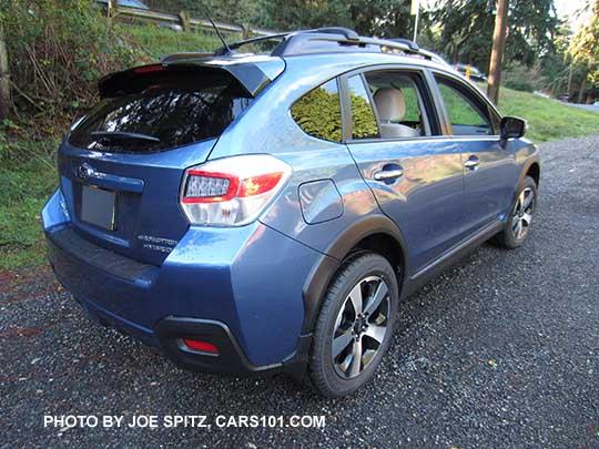 Side And Rear View 2016 Quartz Blue Subaru Crosstrek Hybrid With Optional Cross Bar