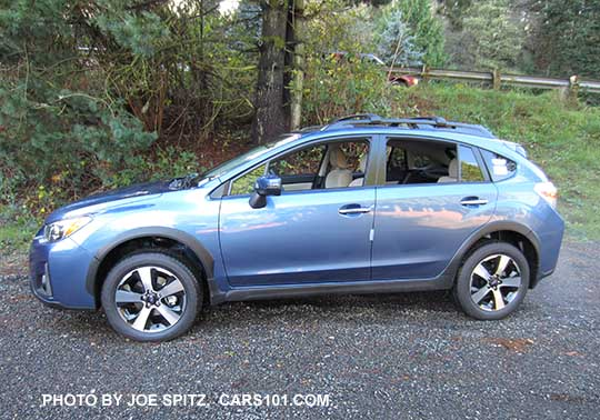Side View 2016 Quartz Blue Subaru Crosstrek Hybrid With Optional Cross Bars