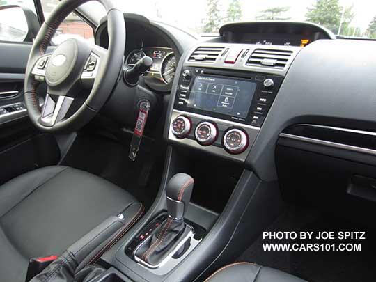 2017 Crosstrek Limited Interior Gray Leather With Orange Stitching Gloss Black Shift Plate And