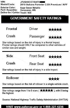 2010 Subaru Forester crash