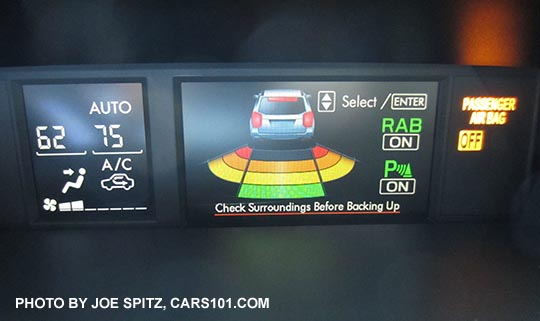 2017 Subaru Forester Reverse Auto Brake Rab Screen On Upper Console