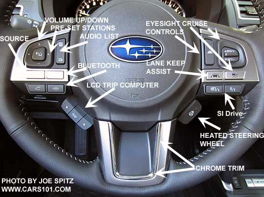 Diagrammed 2018 And 2017 Subaru Forester Touring Steering Wheel Showing Audio Bluetooth Cell Phone Controls