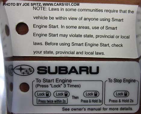 2016 subaru remote start instructions