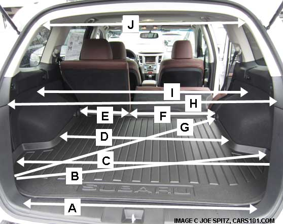2013 subaru outback cargo dimensions and measurement, hand measured