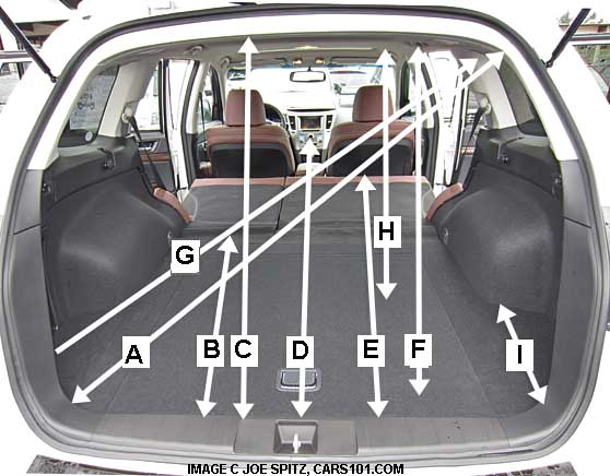 2013 subaru outback rear cargo area dimensions, measurements. hand