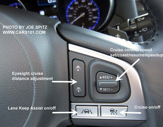 Diagrammed Closeup Of The 2016 Subaru Outback Steering Wheel Eyesight Cruise Control And Lane Keep Ist