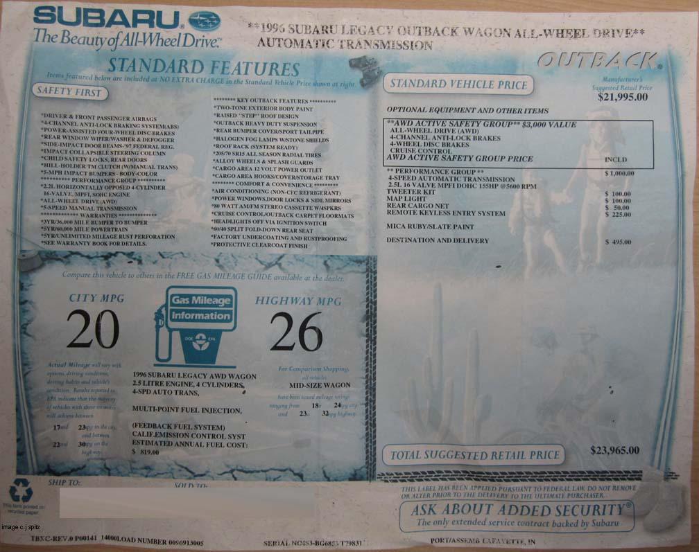 1996 Subaru Outback Story Powertrain Diagram Monroney Window Price Sticker