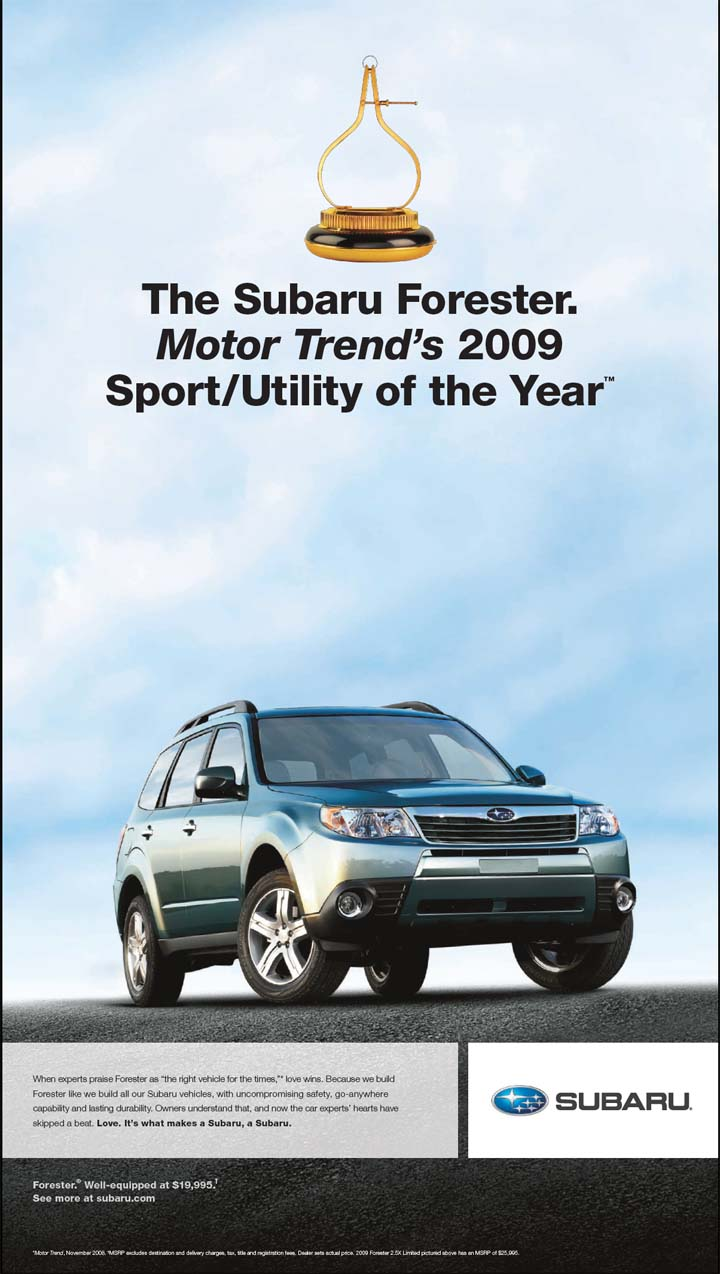 2009 forester motor trend suv of the year ad