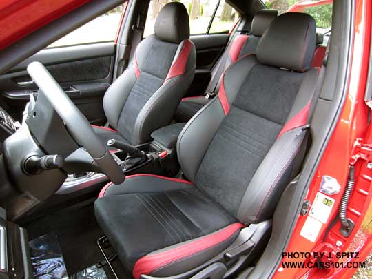 2015 STI Front Seats, Black Alcantara, Red Accented Bolsters