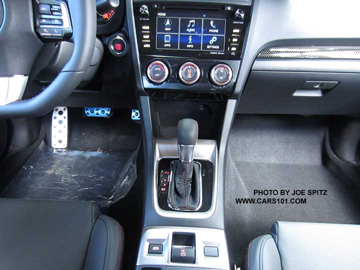 subaru wrx 2016 interior. closeup of the 2016 subaru wrx cvt center console with electric parking brake wrx interior