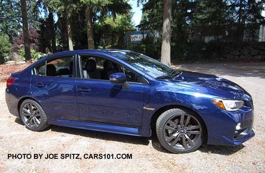 Side View 2017 And 2016 Subaru Wrx Limited Lapis Blue Color Shown