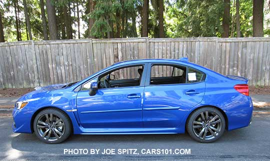 Side View 2017 And 2016 Subaru Wrx Limited Wrblue Color Shown With Optional