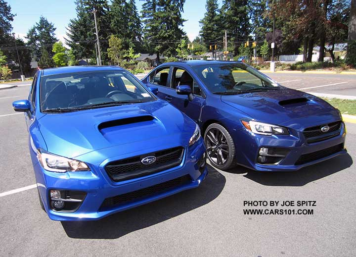 Two Blue 2016 Subaru Wrxs Lapis And Wr Colors Side By