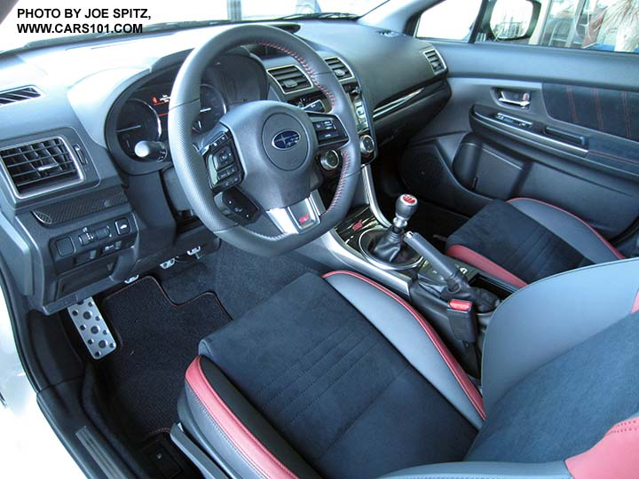2017 Subaru Wrx Sti Interior Black Alcantara And Red Bolsters Sching