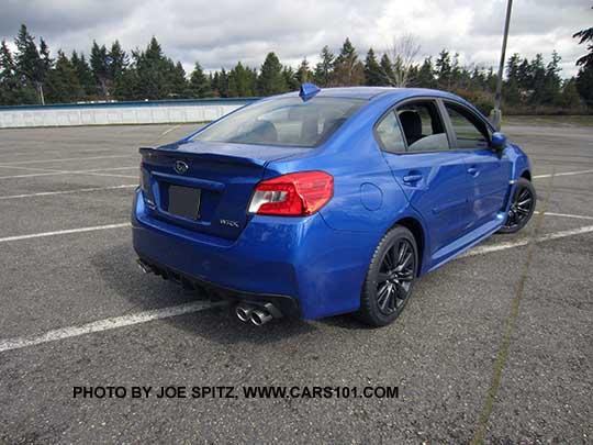 Rear View 2017 Subaru Wrx Wr Blue Color Shown