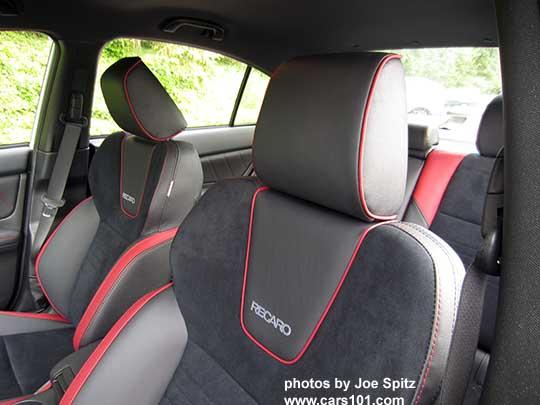 Closeup Of The 2018 Subaru Wrx Premium Optional Recaro Front Seat With Embroidered Upper Logo