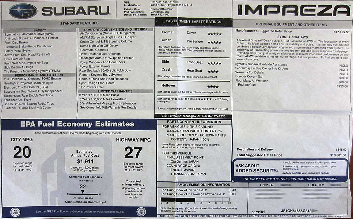 Subaru Window Stickers Monroney Labels Various Years Models