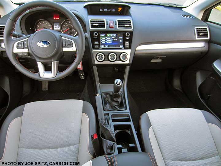 2016 Subaru Crosstrek Premium Ivory Cloth Interior With Orange Sching Manual Transmission Shown